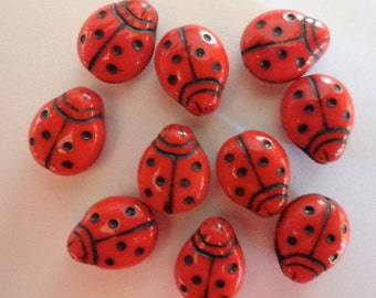 Czech Glass Beads Ladybugs 14/11mm Opaque Bright Red Siam with Black Dots Animals Critters Bugs Charms Earrings Bracelets Jewelry Vintage 5