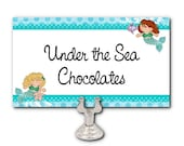 Set of 10 Blank Table Cards, Place Cards, Food Label Cards, Mermaids Theme, Birthday, Under the Sea Party