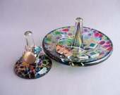 Hand Blown Glass Jewelry Tray and Ring Holder,Art Glass, Multicolored - Reserved For Damon