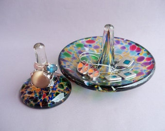 Hand Blown Glass Jewelry Tray and Ring Holder,Art Glass, Multicolored -Set of 2