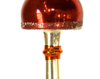 Vintage Mercury Glass Lantern Christmas Ornament Red & Silver
