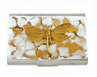 Large Metal Card Case Hand Painted Enamel in Gold and White Quartz Inspired Dragonfly Inlaid in a Glossy Finish with a Personalized Option