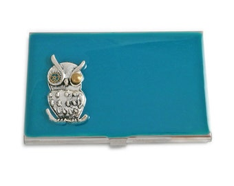 Mechanical Owl Inlaid in Hand Painted Enamel in Turquoise  Metal Wallet Personalized and Custom Color Options