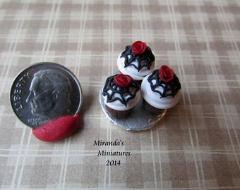 Dollhouse Miniature  Red Rose Spider web cupcakes