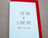 I Like You And I Love You Gold Foil Greeting Card, Valentines Day card, love card, anniversary card, engagement card, wedding card