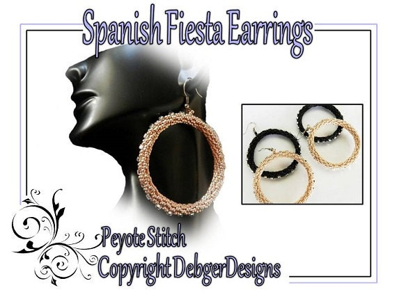 Spanish Fiesta Earrings -  Beading Pattern Tutorial