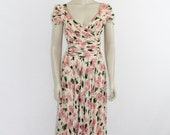 1940's Vintage Dress - Long Flowing Gorgeous Pink Floral Print Full Length Formal Gown