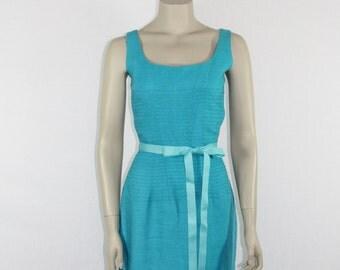 1950s Vintage Dress -  Turquoise Sleeveless Scoop Neck Dress - 36 / 26 / 38