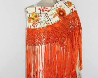 WOWZA! 1970s Vintage Long Shawl - Funky Poly with Bright Orange Long Fringe - Super Groovy