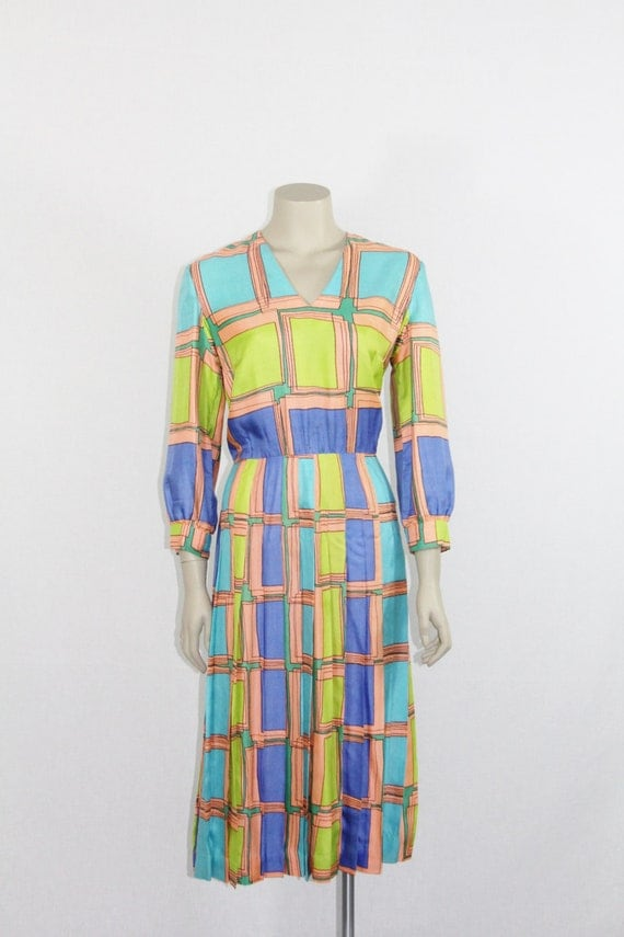 1960s Dress - Great Geometric Lime Green and Aqua and Royal Blue XL Silk Party Frock