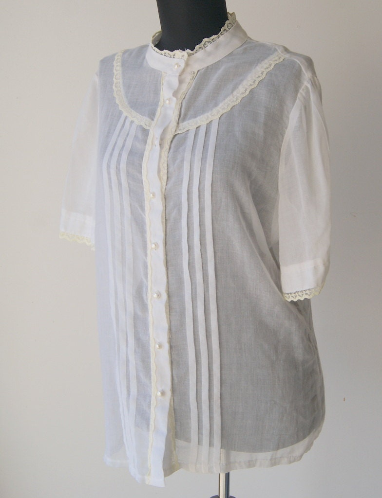 Vintage 1970s white gauze button down shirt for Gauze button down shirt