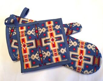 oven mitt & pot holder - stone blue native print