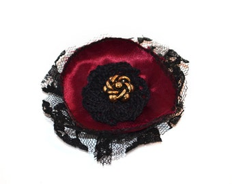 Lapel Pin, scarf pin, hat pin, fabric flower pin, red / burgundy flower brooch, fiber art corsage, OOAK