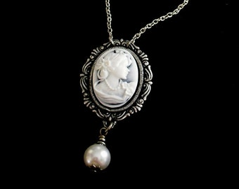 Lady Pearl navy blue gray and white marbled petite cameo necklace silver chain and large 10 mm pearl