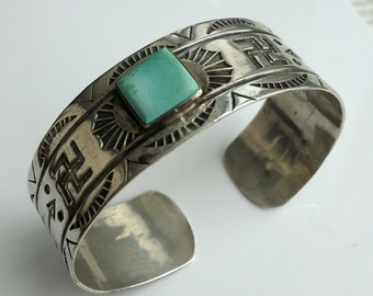 Navajo Stamped Sterling Turquoise Bracelet with Picto Hallmark Inscription Engraving