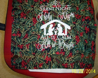Silent Night 13x12 Machine Embroidered quilt block