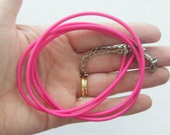 2 Fuchsia nylon cord necklace 47cm