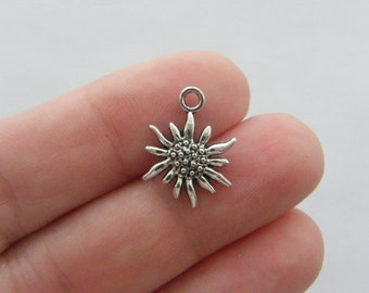 10 Flower charms 17 x 13mm antique silver tone F52