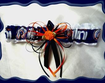 White Satin Fabric Wedding Garter Toss Made with University of Illinois Fabric Loaded