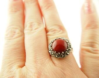 Jasper Marcasite Ring - Sterling Silver - Vintage