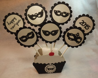 Happy New Year Masquerade Cupcake toppers-set of 12