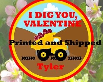 Valentine's Day Boy I dig you construction favor tag set of 12