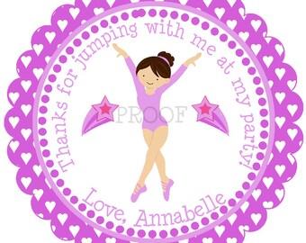 Gymnastics Party Favor, Girls Birthday Gymnastic Favor Tag, Gymnast Tag