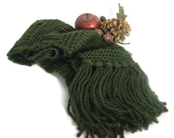 Forest Green Scarf, Knit Scarf, Hand Knit Scarf, Gift For Her, Winter Scarf, Women Accessory, Fashion Accessory,