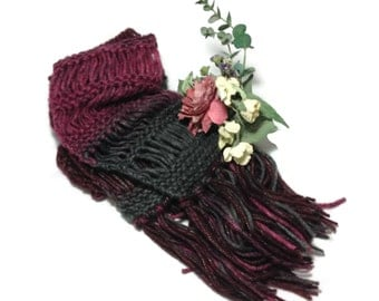 Burgundy Scarf, Knit Scarf, Gray Scarf, Hand Knit Scarf, Jasper Colors, Fashion Scarf, Fiber Art, Winter Scarf, Gift For Her, Mother's Day