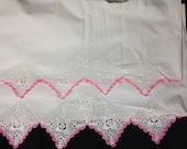 """2 Pillowcases WHITE crochet w PINK edge 36x21"""" on cotton"""