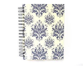 blue damask A5 Sketchbook Journal, blank spiral bound book, fine art paper sketch book