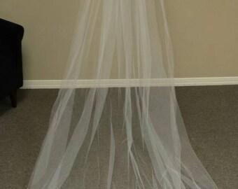 Cathederal  Veil  Bridal Veil Fingertip Length -no edge Ready to Ship!