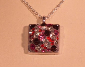Square Silver Pendant Necklace with Pink Preciosa Crystal Chatons in Crystal Clay