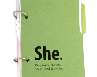 Green Journal or Diary with introspective writing prompts - She Journal in aspen leaf green