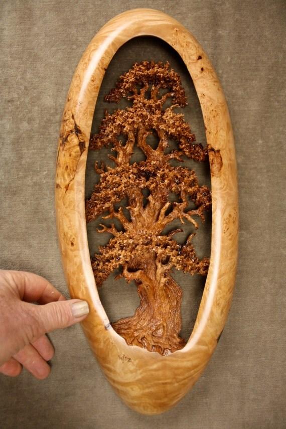 A unique oak tree wood carving sculpture home wall decor