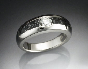 14k White gold ring with iron infused Chondrite meteorite and an ideal cut Diamond