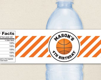 Basketball Party - 100% waterproof personalized water bottle labels