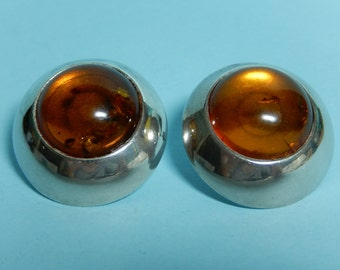 Large Modern Sterling Earrings with Amber Orbs