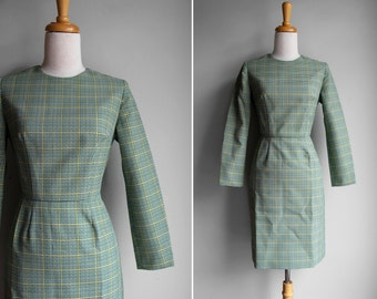 FINAL SALE Vintage 1950s Emerald Plaid Day Dress-  Long Sleeve Fittted Dress w/ Green and Yellow Plaid- Size Small