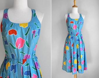 Vintage Sweetheart Floral Blue Dress Smocked Back with Flowy Skirt- Size Medium