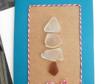 White Chritsmas Tree Beach Glass Hoilday Cards Lake Erie OH