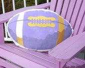 """Purple and gold FOOTBALL pillow Seattle 11""""x21"""" with pocket for TV remote Huskies team colors outdoor fall handpainted Crabby Chris Original"""