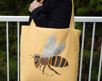 """Queen Bee shoulder bag tote 14"""" x 16"""" x 4.5"""" (35x40x11cm) honey apiary weekend hand painted carryall lavender shopping Crabby Chris"""