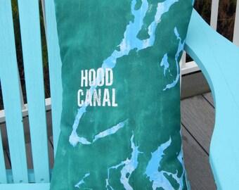 "Outdoor pillow HOOD CANAL Kitsap County handpainted 14""x18"" customized your town Puget Sound Washington map Crabby Chris Original"