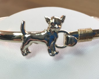 Chihuahua Dog Breed Bangle in Sterling Silver and 14k Gold