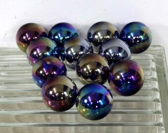 25 35mm Iridescent Glass Marbles / 1 1/4 Inch Glass Balls