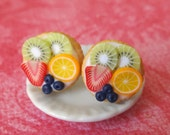 Fruit tart post earrings