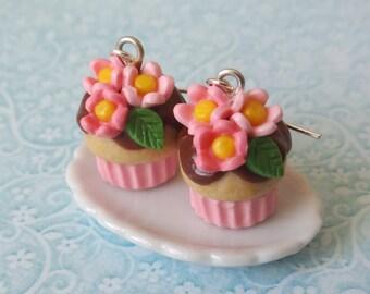 Flower cupcake earrings