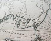 Mobile, Alabama Letterpress Printed Map (Dark grey)