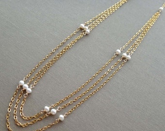 White pearl necklace 3 strand white pearl necklace white pearl multi strand necklace triple strand pearl necklace pearl gold chain necklace
